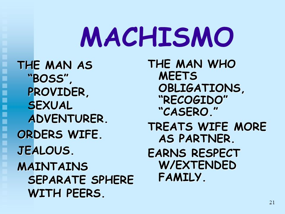 21 MACHISMO THE MAN AS BOSS, PROVIDER, SEXUAL ADVENTURER. ORDERS WIFE. JEALOUS. MAINTAINS SEPARATE SPHERE WITH PEERS. THE MAN WHO MEETS OBLIGATIONS, R