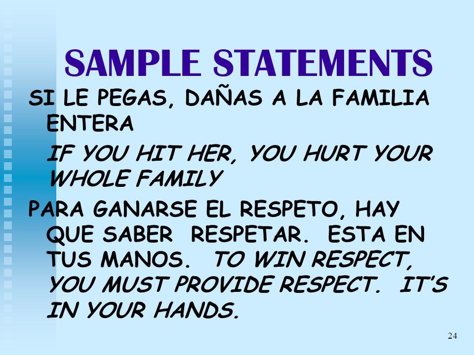 24 SAMPLE STATEMENTS SI LE PEGAS, DAÑAS A LA FAMILIA ENTERA IF YOU HIT HER, YOU HURT YOUR WHOLE FAMILY PARA GANARSE EL RESPETO, HAY QUE SABER RESPETAR