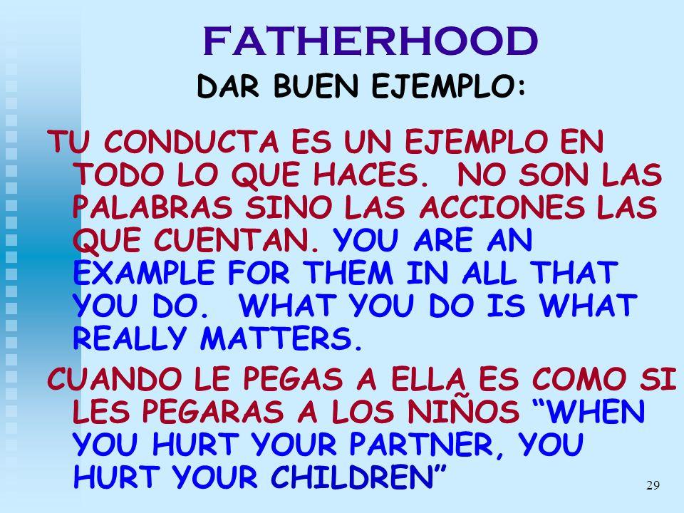 29 FATHERHOOD DAR BUEN EJEMPLO: TU CONDUCTA ES UN EJEMPLO EN TODO LO QUE HACES. NO SON LAS PALABRAS SINO LAS ACCIONES LAS QUE CUENTAN. YOU ARE AN EXAM