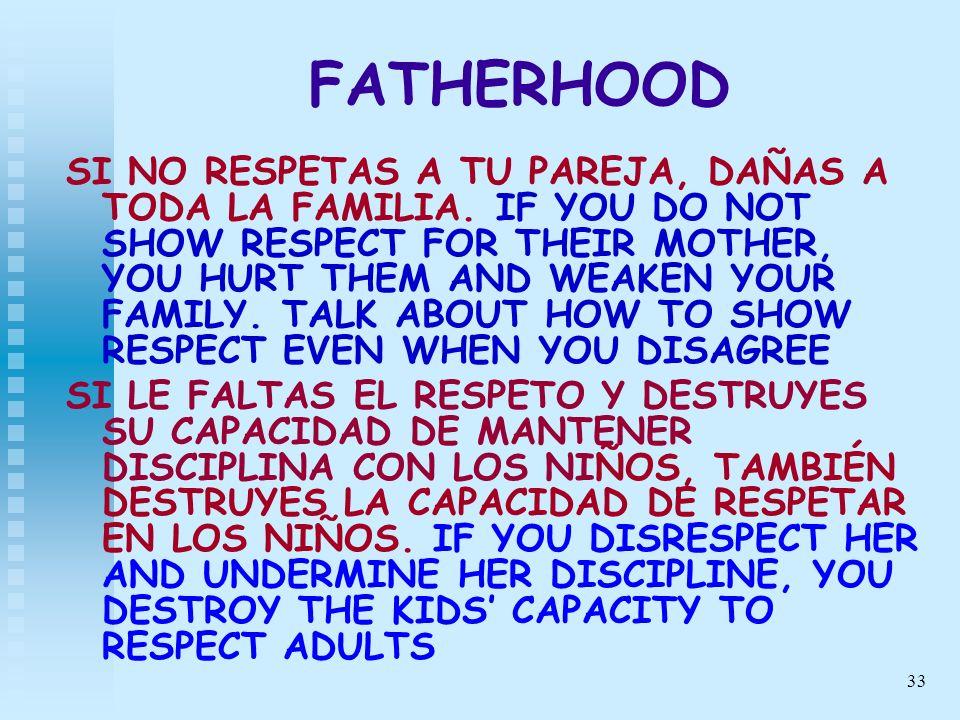 33 FATHERHOOD SI NO RESPETAS A TU PAREJA, DAÑAS A TODA LA FAMILIA. IF YOU DO NOT SHOW RESPECT FOR THEIR MOTHER, YOU HURT THEM AND WEAKEN YOUR FAMILY.