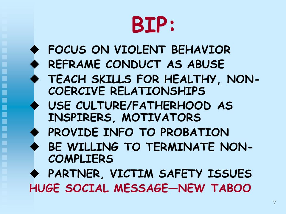 8 OTHER PROGRAMS: BE AWARE OF COLLUSION, DEMONIZING WORK AS PART OF TEAM PROVIDE INFO TO PROBATION BECOME EDUCATED ABOUT DOMESTIC VIOLENCE AND GENDER ISSUES
