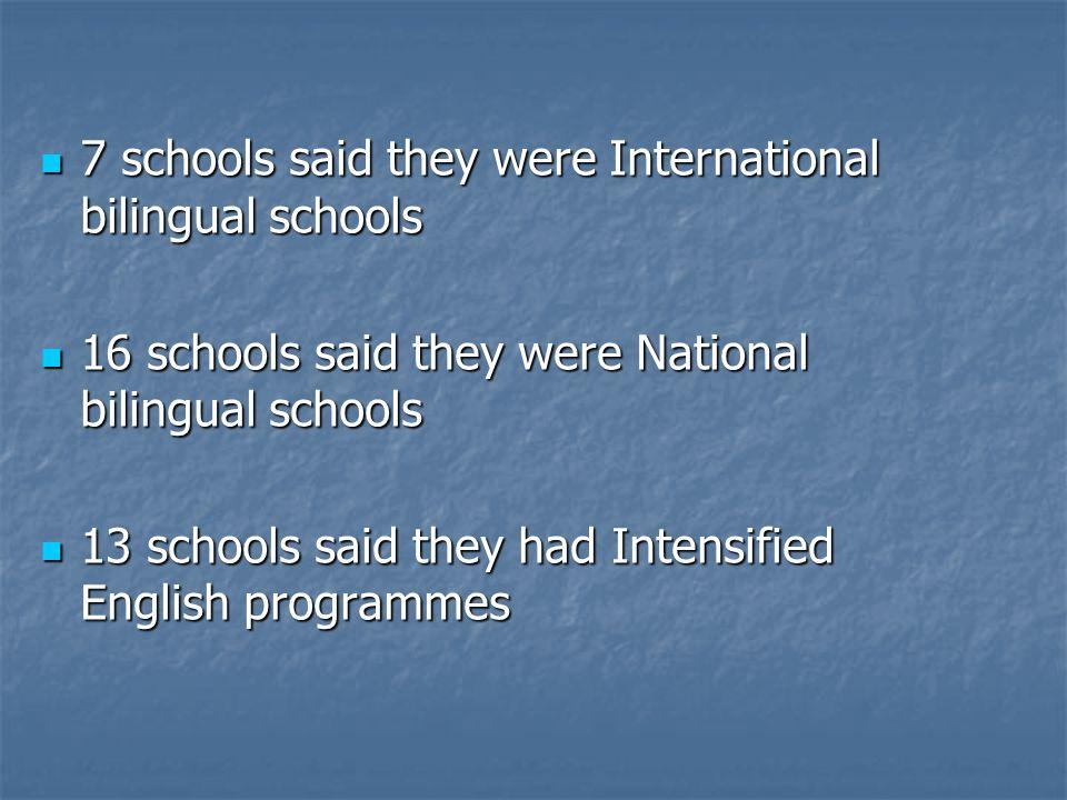 7 schools said they were International bilingual schools 7 schools said they were International bilingual schools 16 schools said they were National b