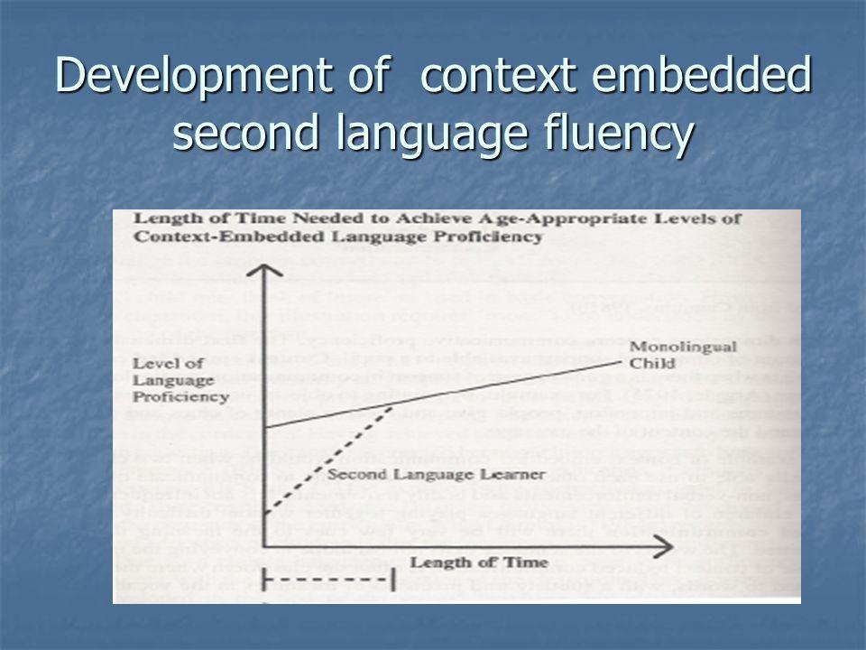 Development of context embedded second language fluency