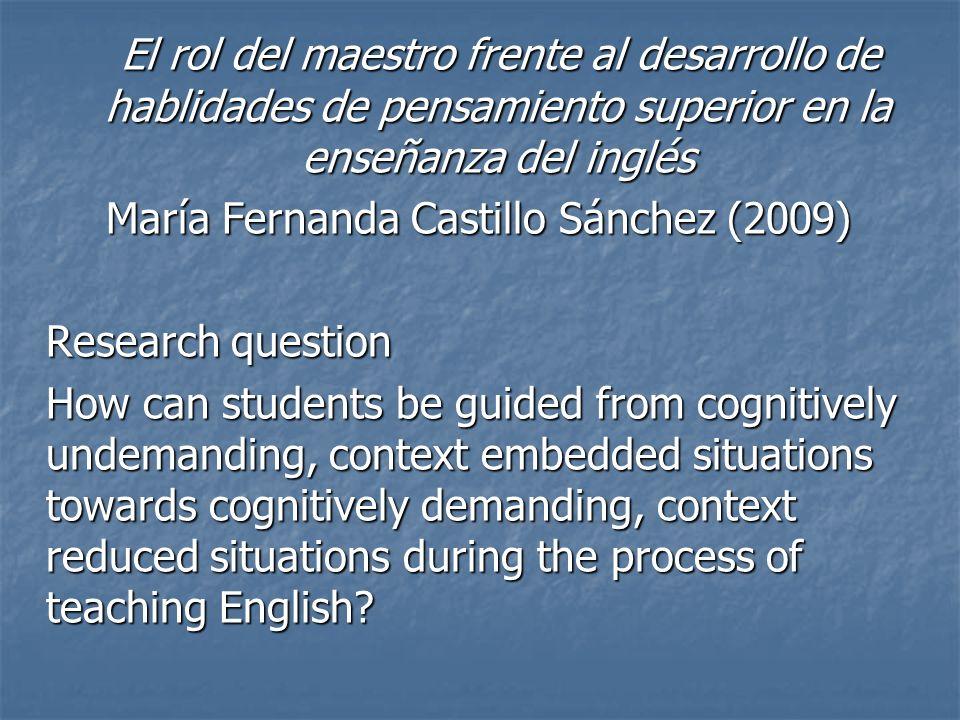 El rol del maestro frente al desarrollo de hablidades de pensamiento superior en la enseñanza del inglés El rol del maestro frente al desarrollo de ha