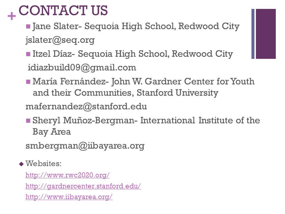 + CONTACT US Jane Slater- Sequoia High School, Redwood City jslater@seq.org Itzel Díaz- Sequoia High School, Redwood City idiazbuild09@gmail.com María