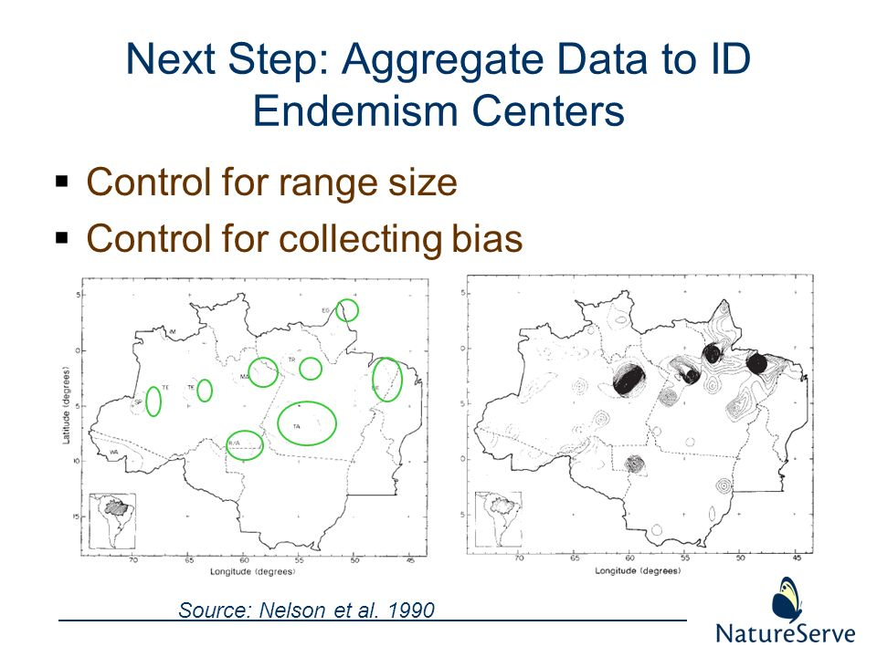 Next Step: Aggregate Data to ID Endemism Centers Control for range size Control for collecting bias Source: Nelson et al. 1990