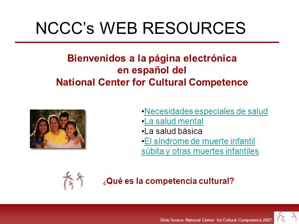 Slide Source: National Center for Cultural Competence,2007 NCCCs WEB RESOURCES Bienvenidos a la página electrónica en español del National Center for