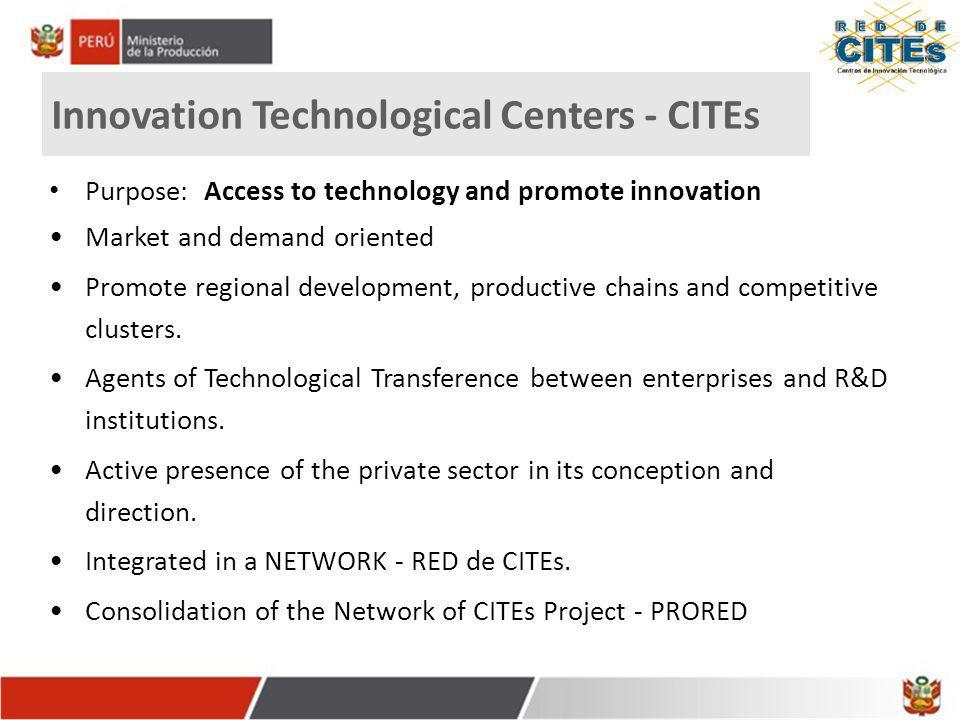 Innovation Technological Centers - CITEs Purpose: Access to technology and promote innovation Market and demand oriented Promote regional development,