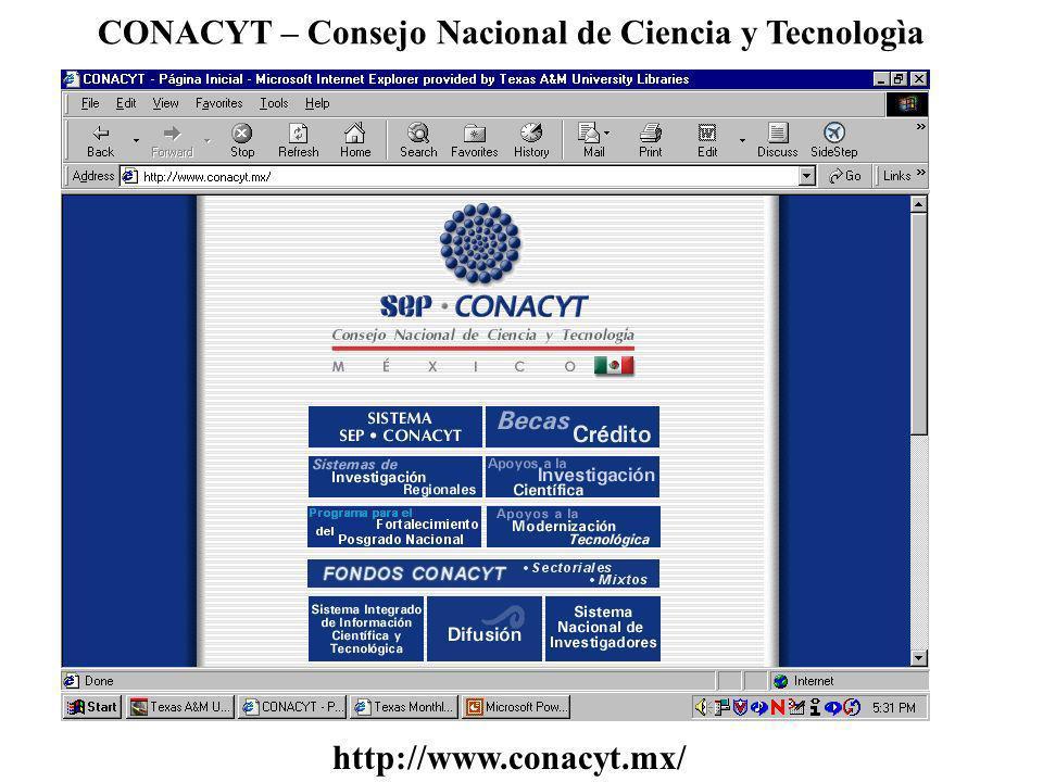 CONACYT – Consejo Nacional de Ciencia y Tecnologìa http://www.conacyt.mx/