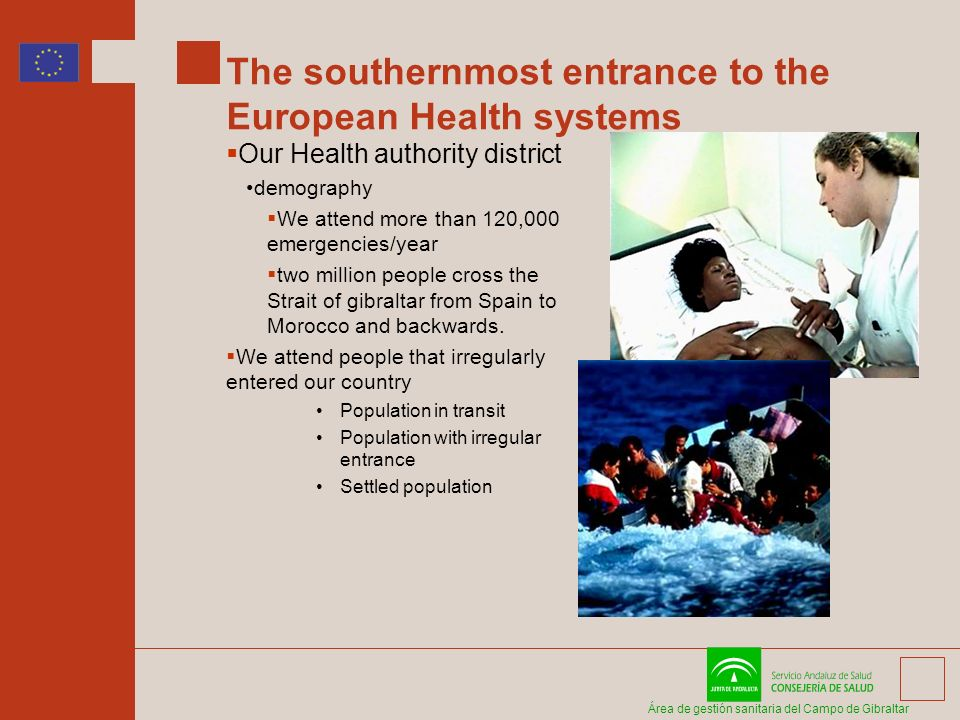 Área de gestión sanitaria del Campo de Gibraltar The southernmost entrance to the European Health systems Our Health authority district demography We