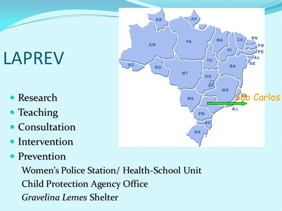 LAPREV Research Research Teaching Teaching Consultation Consultation Intervention Intervention Prevention Prevention Womens Police Station/ Health-School Unit Child Protection Agency Office Gravelina Lemes Shelter São Carlos
