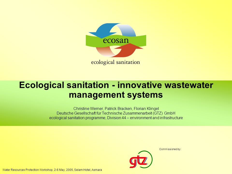 Ecological sanitation - innovative wastewater management systems Sector Network SOWAS, 3 - 7 October 2004, Accra Ghana 1 Ecological sanitation - innov