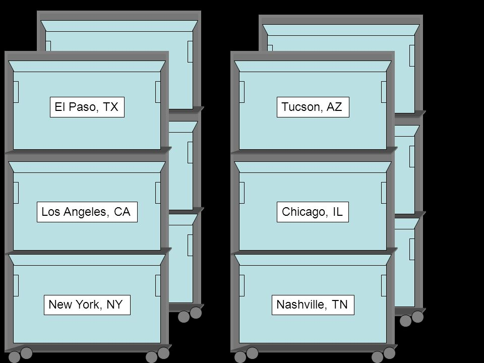 El Paso, TX Los Angeles, CA New York, NY Tucson, AZ Chicago, IL Nashville, TN