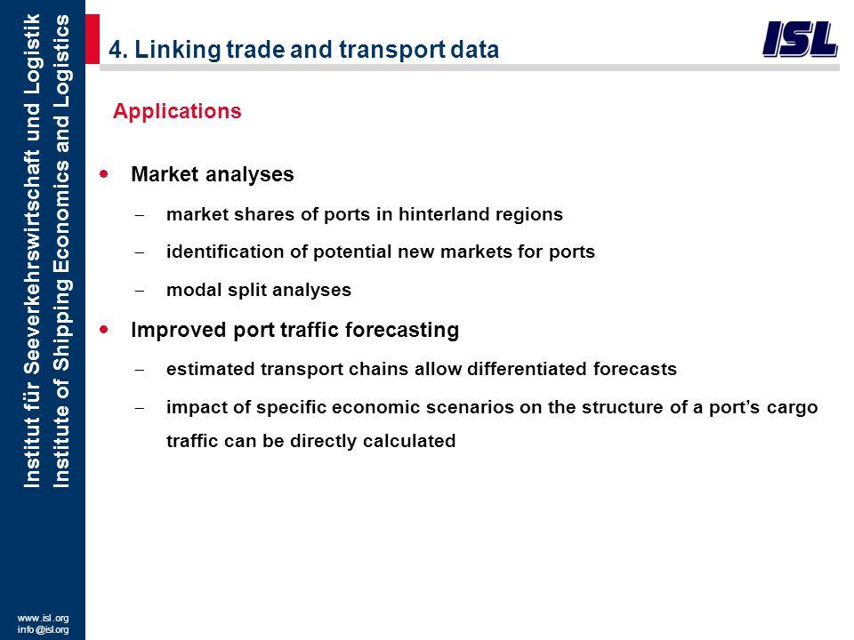www. isl. org info @ isl.org Institut für Seeverkehrswirtschaft und Logistik Institute of Shipping Economics and Logistics 4. Linking trade and transp