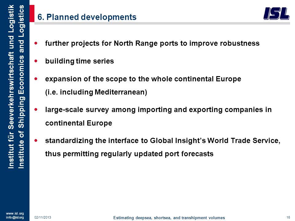 www. isl. org info @ isl.org Institut für Seeverkehrswirtschaft und Logistik Institute of Shipping Economics and Logistics 6. Planned developments Est