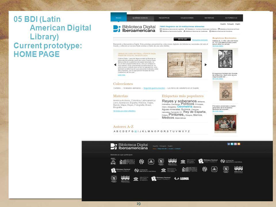 Título de la presentación 19 05 BDI (Latin American Digital Library) Current prototype: HOME PAGE