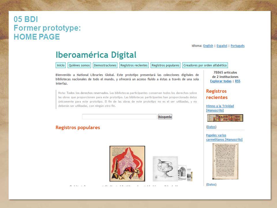 Título de la presentación 05 BDI Former prototype: HOME PAGE