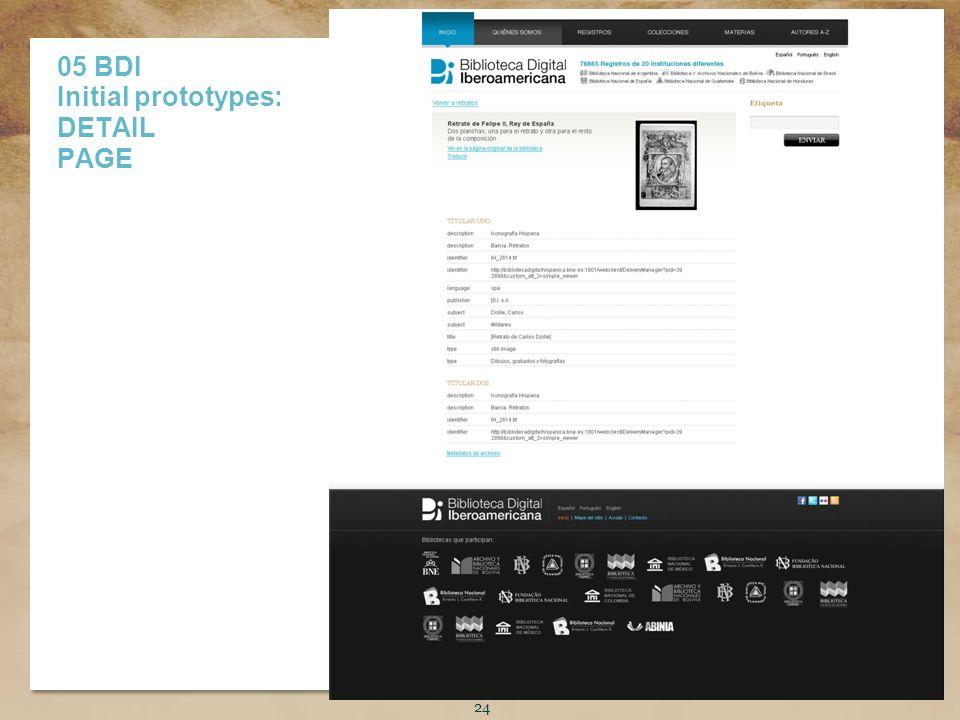 Título de la presentación 24 05 BDI Initial prototypes: DETAIL PAGE