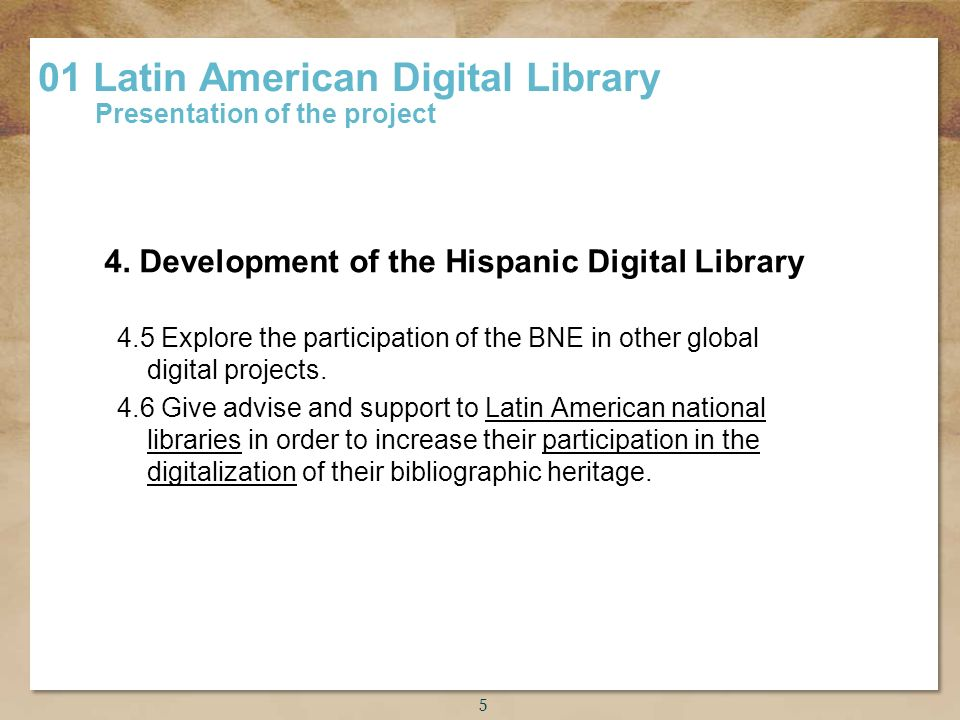 Título de la presentación 4.5 Explore the participation of the BNE in other global digital projects.
