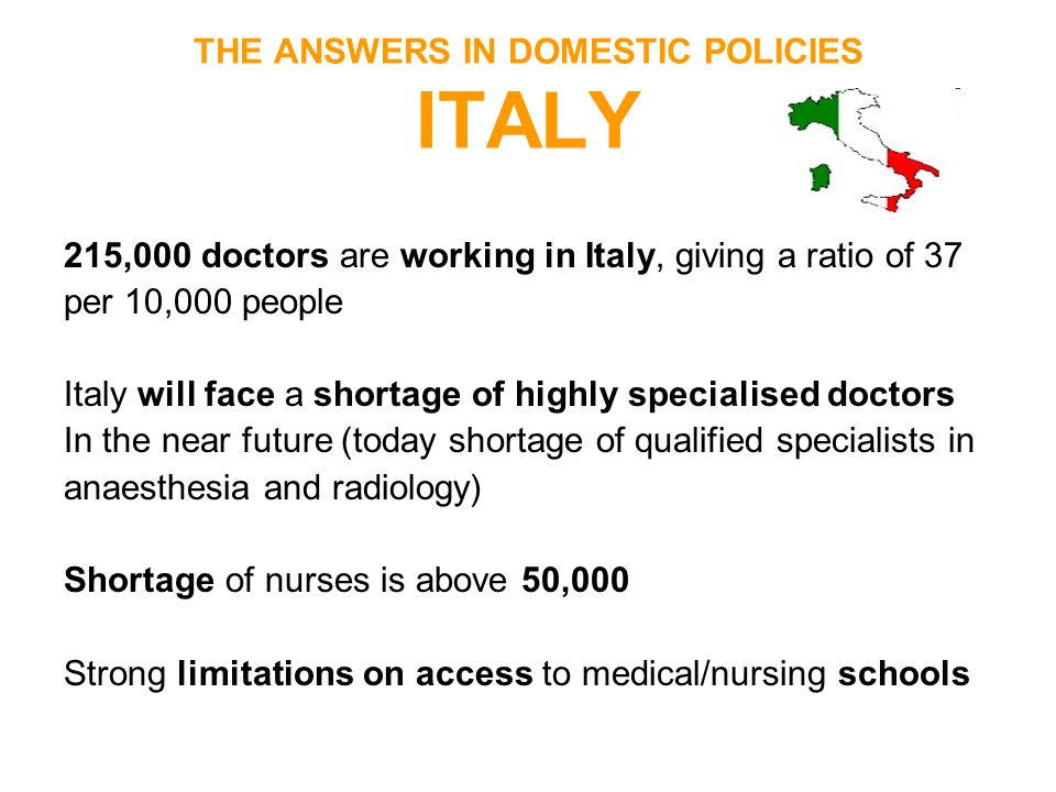 THE ANSWERS IN DOMESTIC POLICIES ITALY 215,000 doctors are working in Italy, giving a ratio of 37 per 10,000 people Italy will face a shortage of high