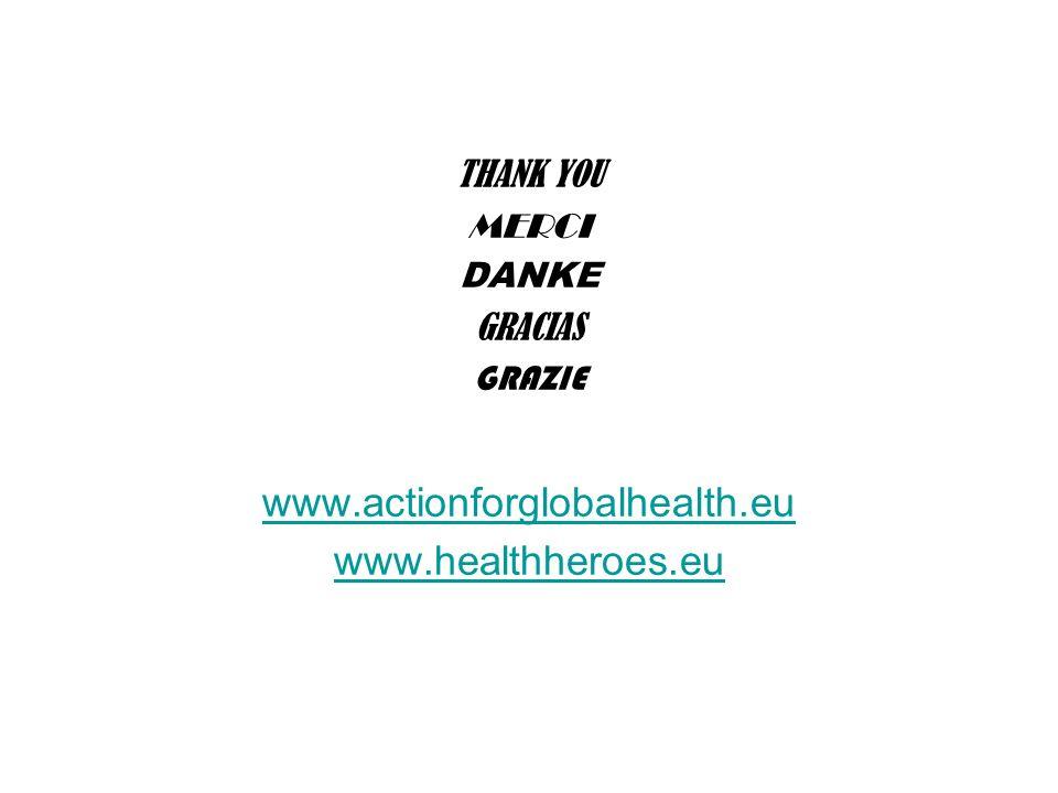 THANK YOU MERCI DANKE GRACIAS GRAZIE www.actionforglobalhealth.eu www.healthheroes.eu