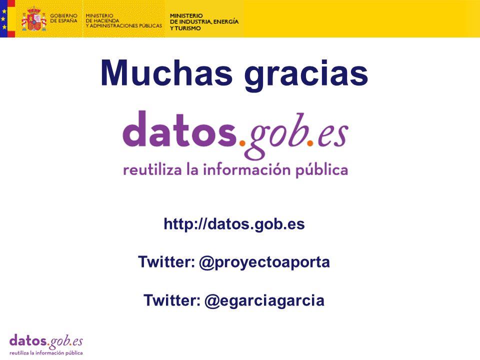 Muchas gracias http://datos.gob.es Twitter: @proyectoaporta Twitter: @egarciagarcia