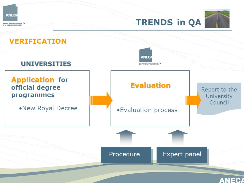 VERIFICATION Application Application for official degree programmes New Royal Decree UNIVERSITIES Evaluation Evaluation process ProcedureExpert panel Report to the University Council TRENDS in QA