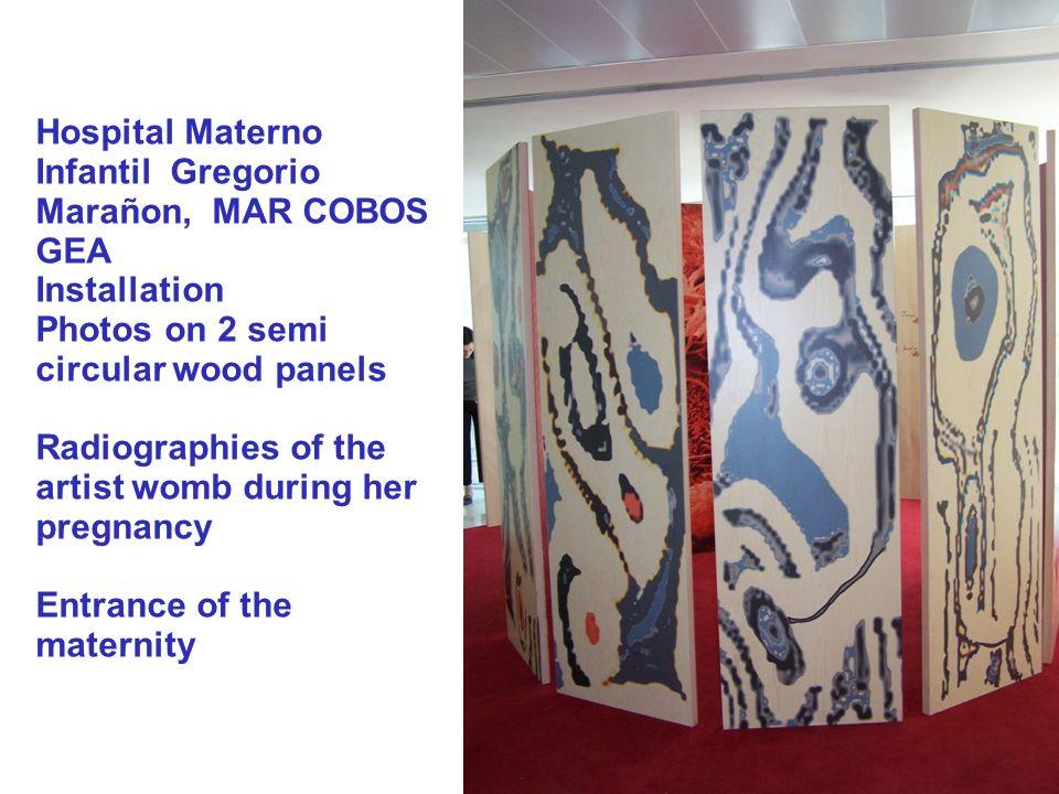 Hospital Materno Infantil Gregorio Marañon, MAR COBOS GEA Installation Photos on 2 semi circular wood panels Radiographies of the artist womb during h