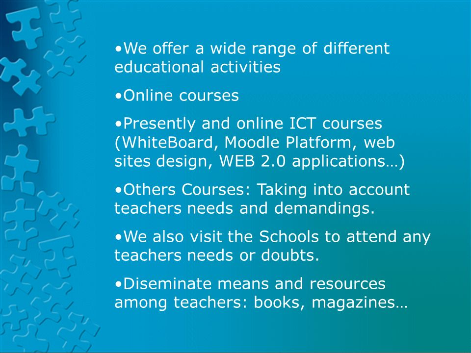 PLATFORM LAND HELVIAPASENCOLABORAAVERROESMOODLE We offer a wide range of different educational activities Online courses Presently and online ICT cour