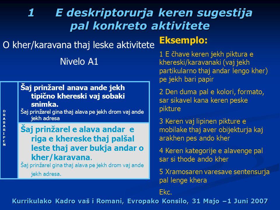 Kurrikulako Kadro vaš i Romani, Evropako Konsilo, 31 Majo 1 Juni 2007 1E deskriptorurja keren sugestija pal konkreto aktivitete DRABARIPENDRABARIPEN Šaj prinžarel anava ande jekh tipično khereski vaj sobaki snimka.