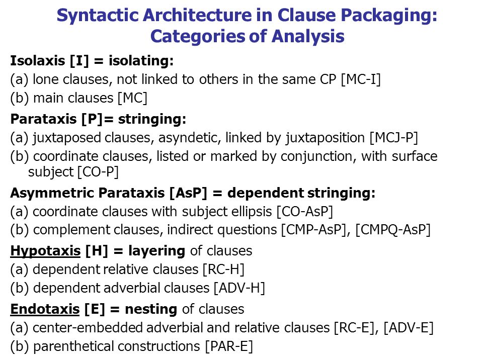 Syntactic Architecture in Clause Packaging: Categories of Analysis Isolaxis [I] = isolating: (a) lone clauses, not linked to others in the same CP [MC