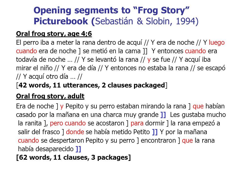 ) Opening segments to Frog Story Picturebook (Sebastián & Slobin, 1994) Oral frog story, age 4;6 El perro iba a meter la rana dentro de acquí // Y era