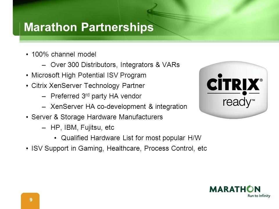 99 Marathon Partnerships 100% channel model –Over 300 Distributors, Integrators & VARs Microsoft High Potential ISV Program Citrix XenServer Technolog