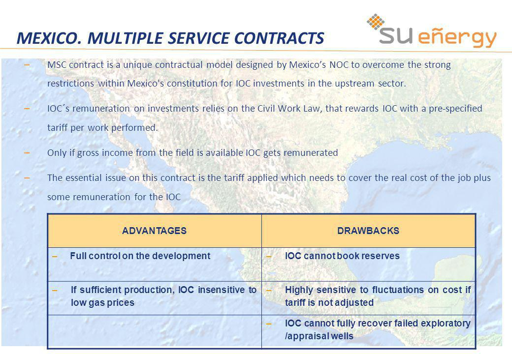 MEXICO. MULTIPLE SERVICE CONTRACTS – MSC contract is a unique contractual model designed by Mexicos NOC to overcome the strong restrictions within Mex