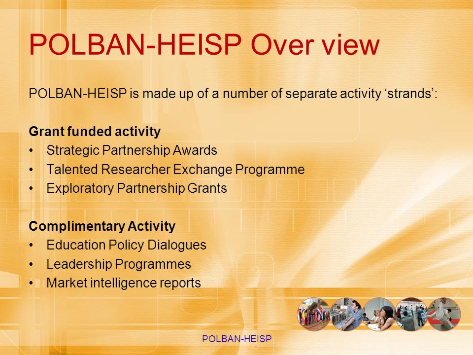 POLBAN-HEISP Over view POLBAN-HEISP is made up of a number of separate activity strands: Grant funded activity Strategic Partnership Awards Talented R