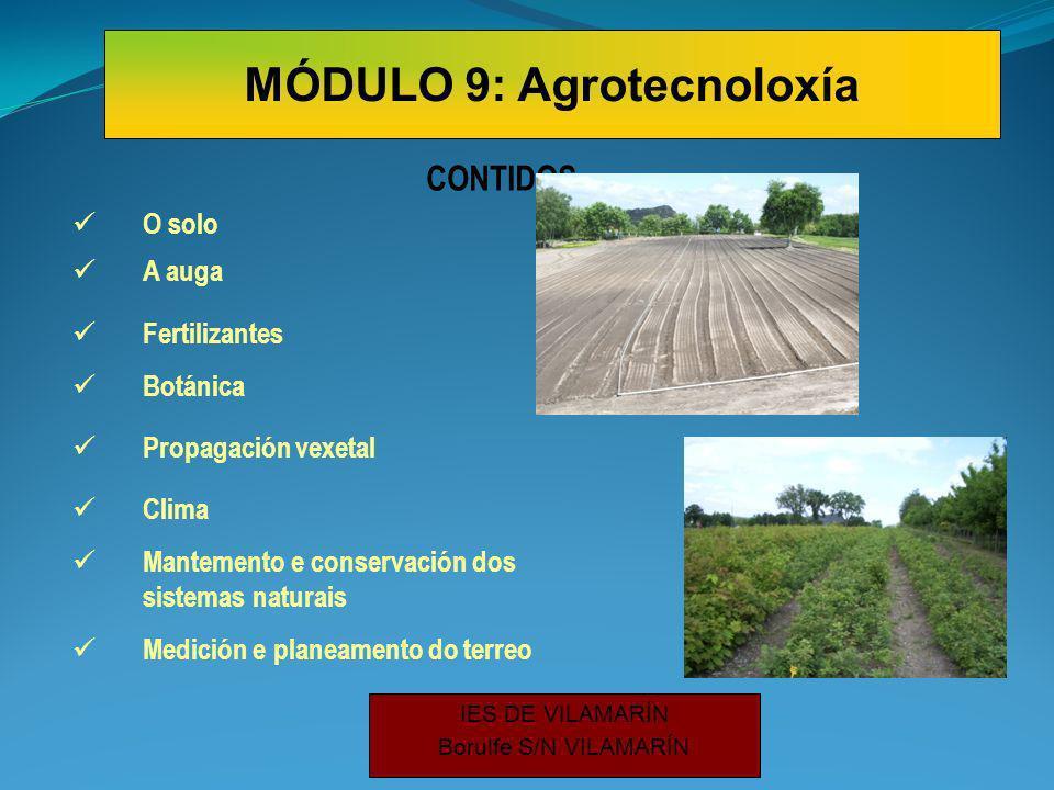 IES DE VILAMARÍN Borulfe S/N VILAMARÍN O solo CONTIDOS A auga Fertilizantes Botánica Propagación vexetal Clima Mantemento e conservación dos sistemas naturais Medición e planeamento do terreo MÓDULO 9: Agrotecnoloxía