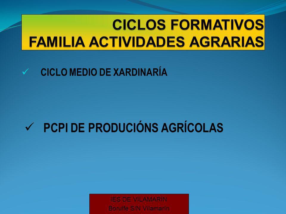 CICLO MEDIO DE XARDINARÍA PCPI DE PRODUCIÓNS AGRÍCOLAS IES DE VILAMARÍN Borulfe S/N Vilamarín