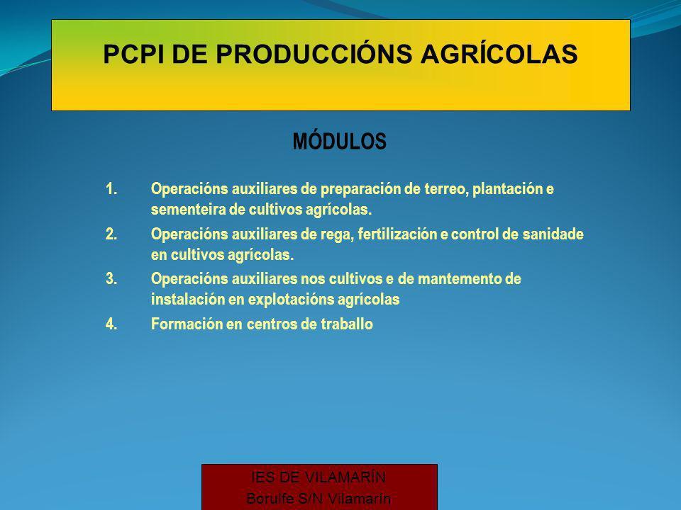 MÓDULOS 1.Operacións auxiliares de preparación de terreo, plantación e sementeira de cultivos agrícolas.