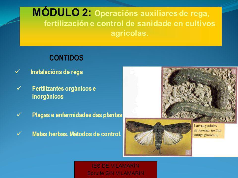 CONTIDOS Instalacións de rega Fertilizantes orgánicos e inorgánicos Plagas e enfermidades das plantas Malas herbas.