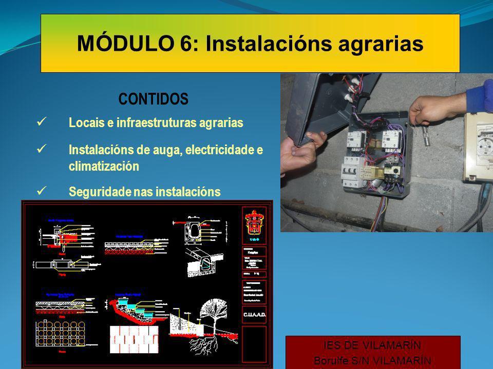 CONTIDOS Locais e infraestruturas agrarias Instalacións de auga, electricidade e climatización Seguridade nas instalacións IES DE VILAMARÍN Borulfe S/N VILAMARÍN MÓDULO 6: Instalacións agrarias