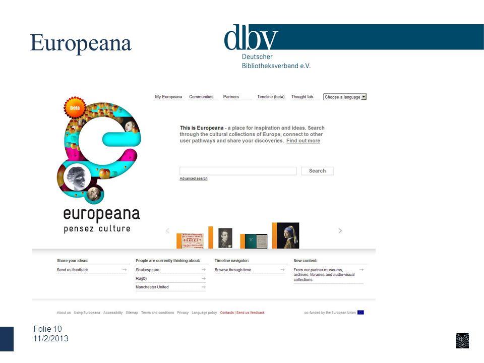 Europeana 11/2/2013 Folie 10