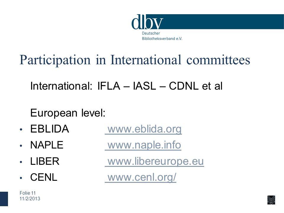 Participation in International committees International: IFLA – IASL – CDNL et al European level: EBLIDA www.eblida.org www.eblida.org NAPLE www.naple