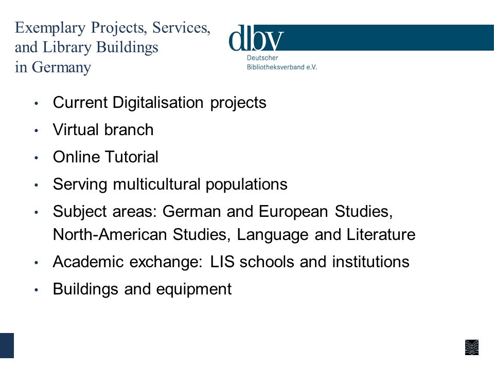 Exemplary Projects, Services, and Library Buildings in Germany Current Digitalisation projects Virtual branch Online Tutorial Serving multicultural po