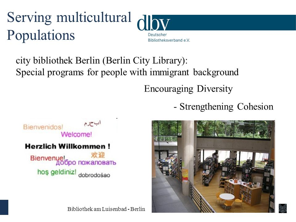 Serving multicultural Populations city bibliothek Berlin (Berlin City Library): Special programs for people with immigrant background Encouraging Dive