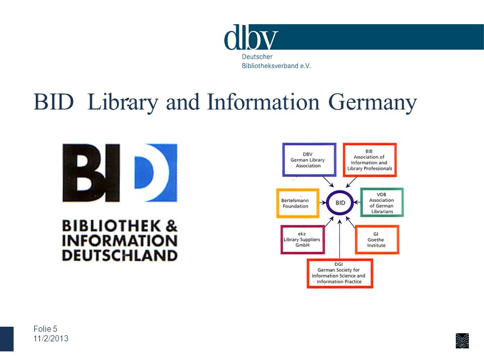 BID Library and Information Germany 11/2/2013 Folie 5 :