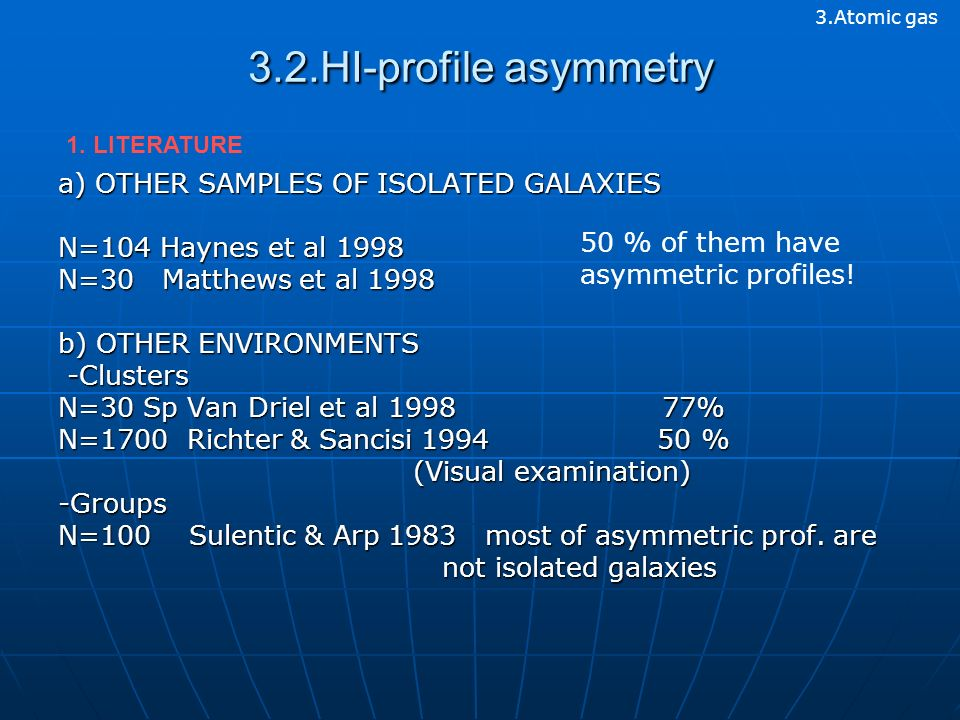 3.2.HI-profile asymmetry a) OTHER SAMPLES OF ISOLATED GALAXIES N=104 Haynes et al 1998 N=30 Matthews et al 1998 b) OTHER ENVIRONMENTS -Clusters -Clusters N=30 Sp Van Driel et al 1998 77% N=1700 Richter & Sancisi 1994 50 % (Visual examination) (Visual examination)-Groups N=100 Sulentic & Arp 1983 most of asymmetric prof.