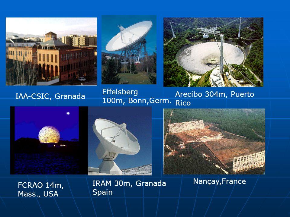 IAA-CSIC, Granada Effelsberg 100m, Bonn,Germ. Arecibo 304m, Puerto Rico FCRAO 14m, Mass., USA IRAM 30m, Granada Spain Nançay,France