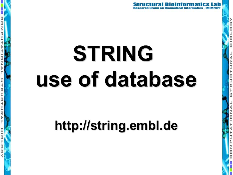 STRING use of database http://string.embl.de