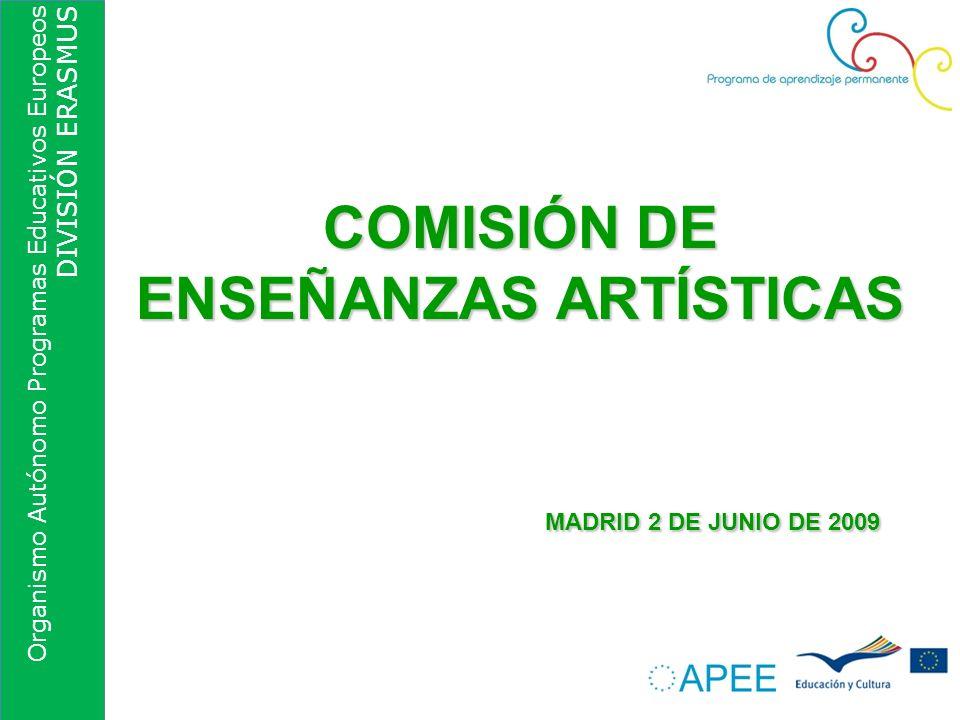 Organismo Autónomo Programas Educativos Europeos DIVISIÓN ERASMUS COMISIÓN DE ENSEÑANZAS ARTÍSTICAS MADRID 2 DE JUNIO DE 2009