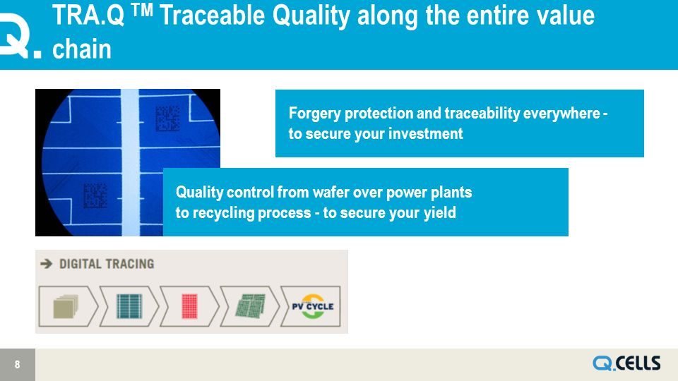 TRA.Q TM Traceable Quality along the entire value chain 8 Forgery protection and traceability everywhere - to secure your investment Quality control f